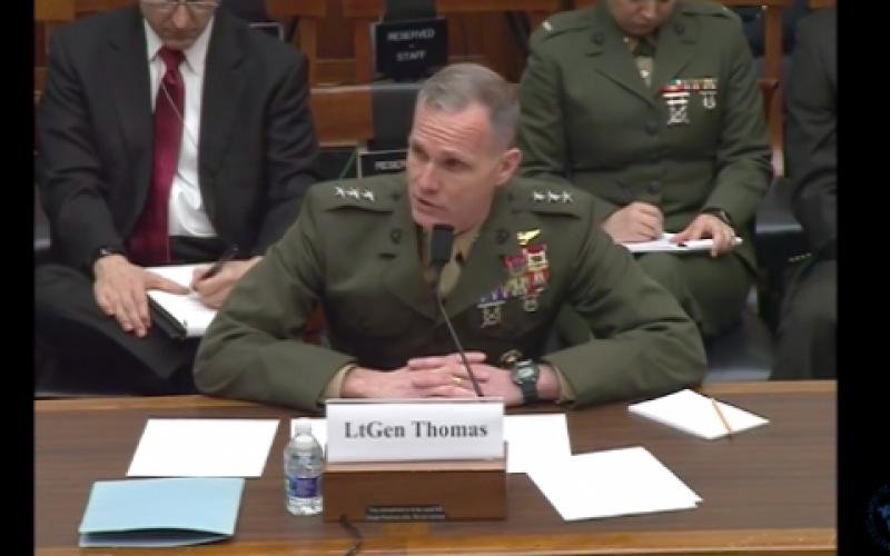 Lt. Gen. Gary Thomas, USMC, deputy commandant for programs and resources, testifies before the  U.S. House Armed Services Tactical Air and Land Forces Subcommittee.