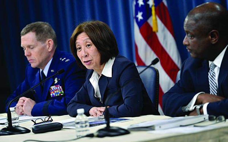 From left, Maj. Gen. Robert Wheeler, USAF, deputy CIO for C4 and information infrastructure capabilities, Defense Department former CIO Teri Takai, and Fred Moorefield, the director of spectrum, policy and programs for the department's Office of the CIO, brief media on the department's release of its electromagnetic spectrum strategy.