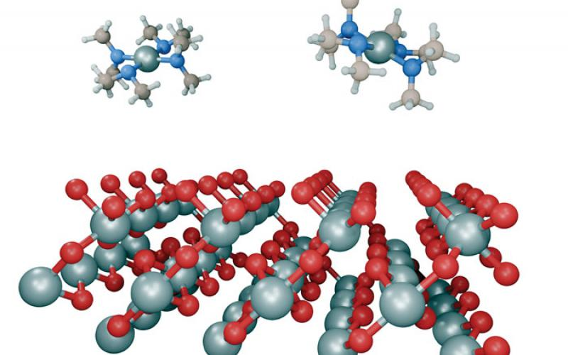 Atomic layer deposition chemical vapors impinge on atomic-scale titanium dioxide thin film. Credit: Michael Flickinger