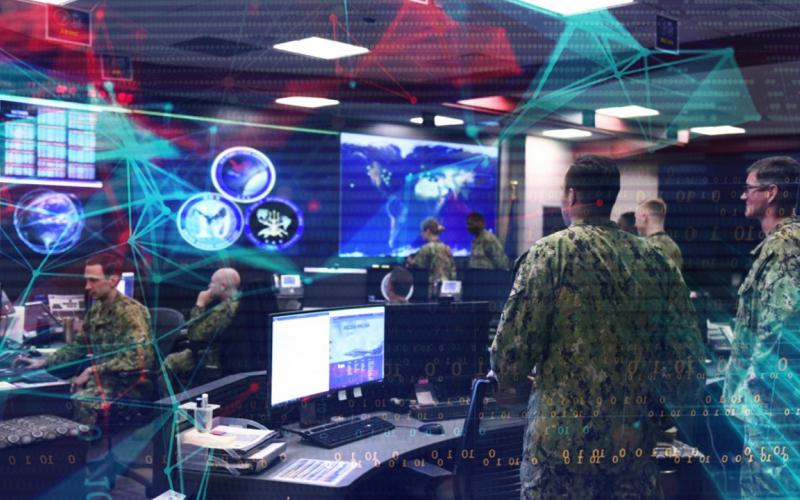 U.S. Navy cyberspace defenders monitor and protect data and networks from the U.S. Fleet Cyber Command/U.S. 10th Fleet watch floor. Credit: Graphic by Petty Officer 2nd Class William Sykes