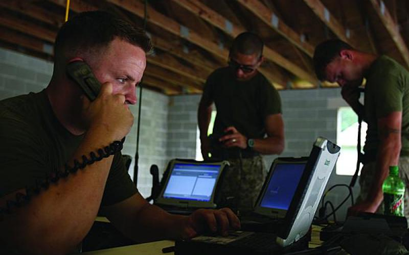 Marine Corps communications operators link with their counterparts during an exercise. A major part of the Corps transition to NGEN involved seeking input from warfighters, officials say.