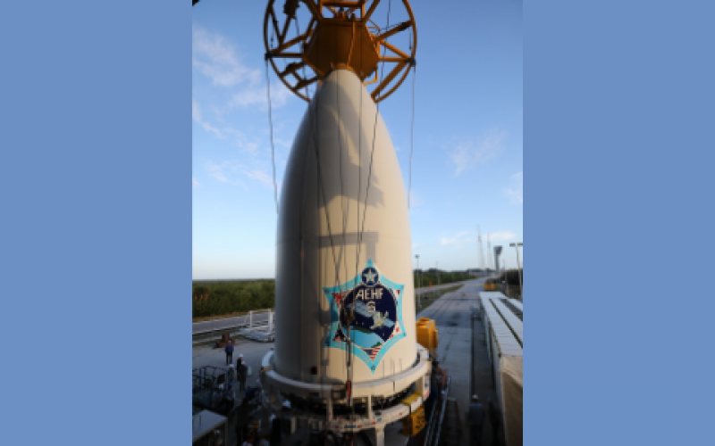 U.S. Space Force's Advanced Extremely High Frequency-6 (AEHF-6) communications system atop the United Launch Alliance (ULA) Atlas V rocket is moved to the launchpad at the Kennedy Space Center in preparation for its March 11, 2020, launch, the first for the new service. The Space Force will employ next-generation data management across all of its systems to make sure information, especially from satellite systems, is a powerful tool for the service.  United Launch Alliance
