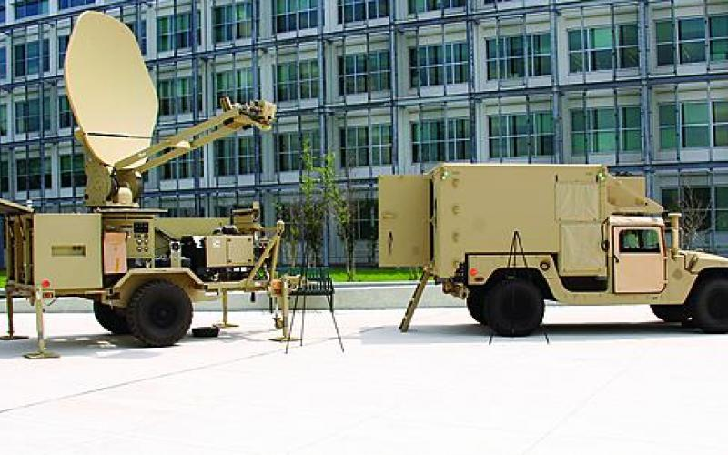A Joint Network Node (r) and a satellite transportable terminal, part of the U.S. Army's Warfighter Information Network–Tactical (WIN–T) Increment 1, are set up at Aberdeen Proving Ground, Maryland. WIN–T Increment 1 has been fielded to the force, and work on Increment 2 aims to begin deployment this year.