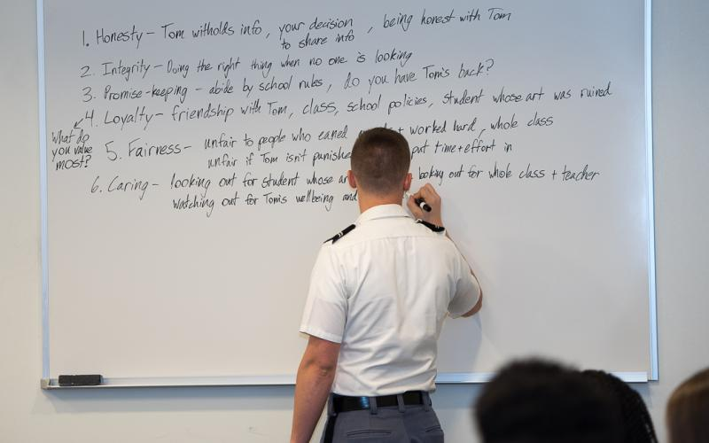 Cadets from the U.S. Military Academy at West Point, New York, facilitate the annual ethics conference.