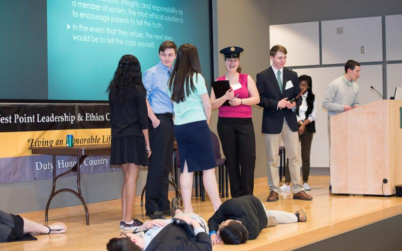 Students present a skit based on an ethical dilemma during WPLEC 2016.