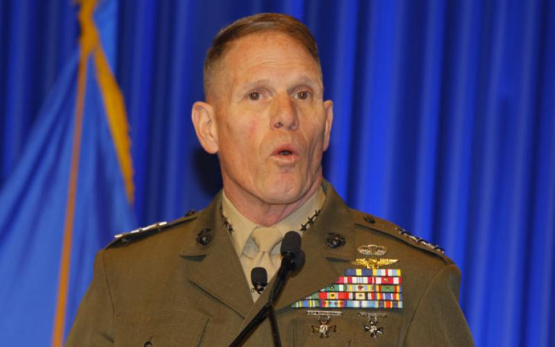 Lt. Gen. Robert S. Walsh, USMC, commanding general, Marine Corps Combat Development Command, discusses Marine Corps innovations in the Wednesday keynote address at West 2018 in San Diego.