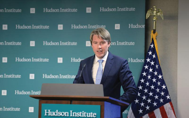 U.S. State Department chief cyber policy official Rob Strayer acknowledged to the Hudson Institute last year that U.S. firms' participation in 5G standards setting had been chilled. Credit: Hudson Institute​