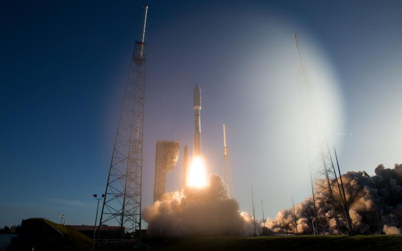 A United Launch Alliance Atlas V rocket takes off from Space Launch Complex 41 at Cape Canaveral Air Force Station in Florida. The rocket was carrying the Perseverance rover, part of NASA's Mars Exploration Program, a long-term effort atrobotic exploration of the Red Planet.  NASA/Joel Kowsky via Flickr