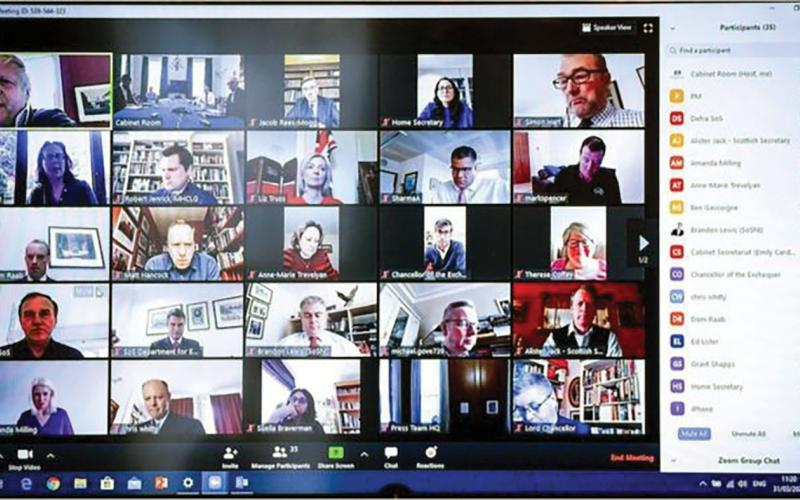 The UK cabinet holds a meeting using Zoom. Photo courtesy of 10 Downing St.