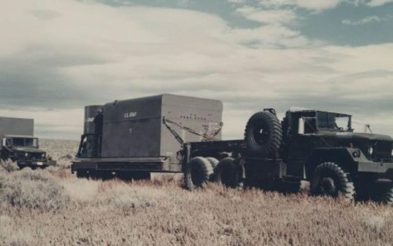 The Mobile Low Power Prototype Number 1 at the National Reactor Testing Station, Idaho Falls, Idaho, was designed at Fort Belvoir, Virginia. It was deployed in Idaho in 1961 and was one of a series of ultimately failed efforts by the Army Corps of Engineers to develop a mobile nuclear reactor in the 1960s.  U.S. Army photo courtesy of Office of History, HQ, U.S. Army Corps of Engineers/Photographer unknown