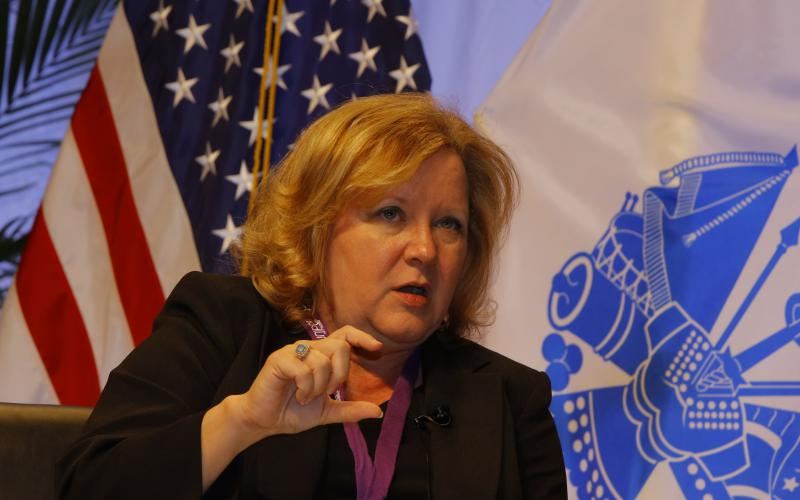 Acting federal Chief Information Officer Margie Graves speaks at the Defensive Cyber Operations Symposium.
