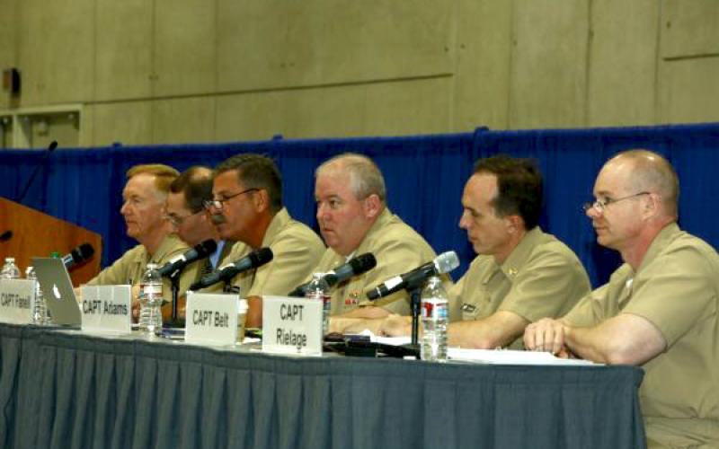 "(r-l) Capt. Dale Rielage, USN; Capt. Stuart Belt, USN; Capt. David A. Adams, USN; Capt. James Fanell, USN; Dr. James R. Holmes; and panel moderator Rear Adm. James G. Foggo III, USN, exchange views in a panel titled ""What About China?"""