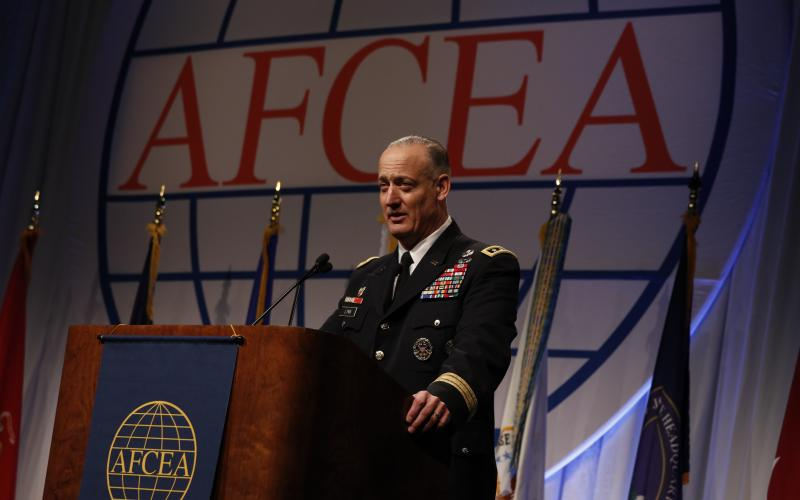 Lt. Gen. Alan R. Lynn, USA, DISA director, calls for closer cooperation between the agency and industry duirng the AFCEA 2016 DCOS.