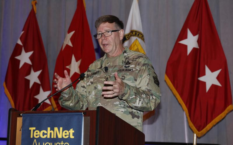 Gen. Fogarty discusses the cyber workforce at AFCEA TechNet Augusta. Photo by Michael Carpenter