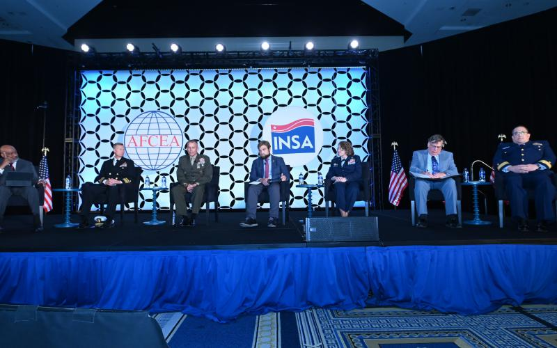 Military intelligence leaders from all the services discuss their services' needs at the 2021 Intelligence and National Security Summit. Photo by Herman Farrer