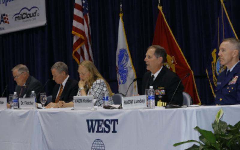 Panelists discussing the effect of technology on Navy operations are (l-r) moderator Lt. Gen. Robert Shea, USMC (Ret.), AFCEA president and CEO; Kenneth W. Bible, deputy director, C4/Deputy CIO, U.S. Marine Corps; Kelly Fletcher, acting Department of Navy CIO; Vice Adm. Matthew J. Kohler, USN, commander, Naval Information Forces; and Rear Adm. Kevin Lunday, USCG, assistant commandant, C4&IT and commander, U.S. Coast Guard Cyber Command.