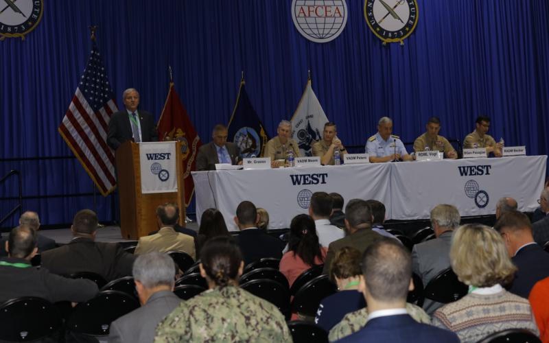 Panelists at West 2019 discuss information warfare. Photo by Michael Carpenter