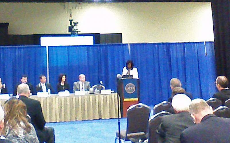 A panel discusses the government procurement process during AFCEA's TechNet Air symposium in San Antonio.