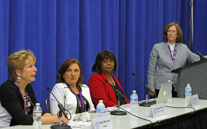 Panelists discuss women in the cyber workforce during a session at the Defensive Cyber Security Symposium.