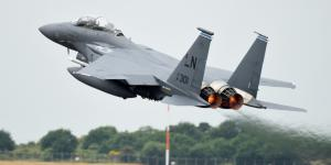 A F-15E Strike Eagle from the 492nd Fighter Squadron takes off from Royal Air Force Lakenheath, England on May 27 during a large force exercise. The U.S. Air Forces in Europe and Africa and airmen from the 48th Fighter Wing conducted the dissimilar air combat training to advance combat readiness and increase tactical proficiency to help strengthen the NATO alliance. Credit: U.S. Air Force photo by Air Force Senior Airman Christopher Sparks