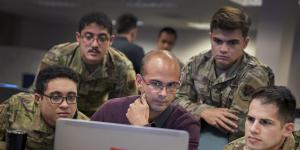 U.S. Cyber Command cyber warriors and a French cyber professional collaborate during a July 21 training exercise, Cyber Fort III, at Fort George G. Meade, Maryland. The Command, along with federal agencies such as the FBI, NSA, DOD and the Department of Justice, will be collaborating with the new Joint Cyber Defense Collaborative to broaden U.S. cyber defenses. Credit: U.S. Cyber Command/Josef Cole