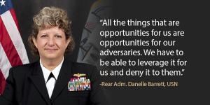 Rear Adm. Danelle Barrett, USN, director, Navy Cybersecurity Division, Office of the Chief of Naval Operations, spoke at the AFCEA Small Business Innovation Summit on July 26.