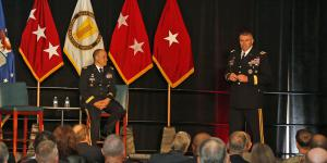 Maj. Gen. David Bassett, USA, and Maj. Gen. Peter Gallagher, USA speak at AFCEA's TechNet Augusta conference. Photo by Michael Carpenter