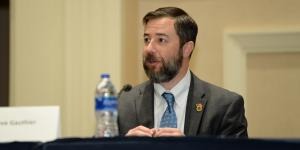 Dave Gauthier, director, Commercial Space and Business Operations, National Geospatial-Intelligence Agency, participates in a panel at the Intelligence and National Security Summit. Photo by Herman Farrer