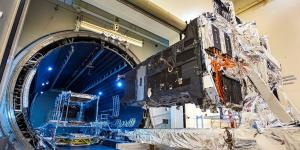 Lockheed Martin's SBIRS GEO-5 satellite is tested in a vacuum chamber at the company's Sunnyvale, California, production facility in April. The U.S. Space Force has ruled that the satellite is now ready for launching in 2021. Credit: Lockheed Martin