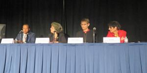 Panelists discuss acquisition during a session at AFCEA's Homeland Security Conference.