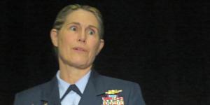 Vice Adm. Sandra Stosz, USCG, deputy commandant, Mission Support, U.S. Coast Guard, speaks at the AFCEA Homeland Security Conference.