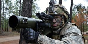 With an M3 anti-tank weapon on his shoulder, Army Spc. Austin Helms stands guard at Fort Polk, Louisiana, on February 15. The Army's science and technology research is focusing on increasing soldier lethality through improved situational awareness, among other strategies. Army photo by Staff Sgt. Armando R. Limon