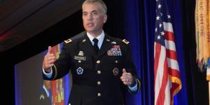 Lt. Gen. Paul Nakasone, USA, commanding general, U.S. Army Cyber Command, speaks at TechNet Augusta 2017.