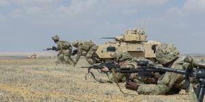 U.S Army soldiers assigned to the 155th Armored Brigade Combat Team, Task Force Spartan, bound toward an objective during a rehearsal for a 2018 combined live-fire exercise near Alexandria, Egypt. Brigade Combat Teams may not be the top priority for future budgets as wars are fought over longer distances. U.S. Army photo by Sgt. James Lefty Larime