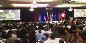 Lt. Gen. Ben Hodges, USA, commander, U.S. Army Europe, speaks to the attendees of TechNet Augusta via video teleconference.