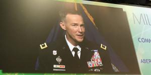 Maj. Gen. Randy Taylor, commanding general of CECOM, speaks at MILCOM 2017 in Baltimore.