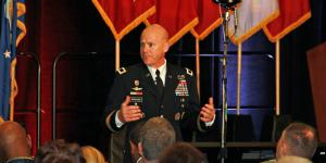 Maj. Gen. John B. Morrison Jr. (l), commander, Cyber Center of Excellence and Fort Gordon, speaks at TechNet Augusta 2017.