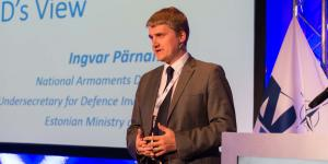 Ingvar Parnamae, undersecretary for defense investments for the Estonian Ministry of Defense shares some of the Baltic nation's defense challenges during NITEC 2016, running June 7-9 in Tallinn, Estonia. Photo by Marcos Fernandez Marin, NCI Agency
