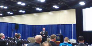 """Robert """"Gerry"""" Smothers, program manager, Network-Centric Solutions-2, speaks at TechNet Air in San Antonio."""