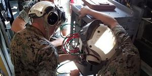 The addition of the U.S. Marines Corps' networking on the move platform known as NOTM-A Increment II system onto the MV-22 Osprey tiltrotor aircraft will enhance the Marines' abilities to communicate in the air. (U.S. Marine Corps photo courtesy of Chris Wagner)