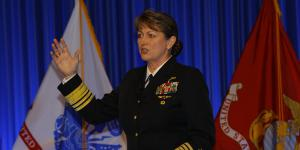 Vice Adm. Jan Tighe, USN, deputy chief of Naval Operations for Information Warfare (N2N6), reviews the complexity of information warfare.