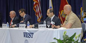 Hyperwar and its ramifications were the subject of a West 2018 panel comprising (r-l) Capt. Sean Heritage, USN, Navy and IT portfolio lead, DIUx; Amir Husain, founder and CEO, SparkCognition;August Cole, senior fellow, Avascent/Atlantic Council; and panel moderatorCapt. David Adams, USN (Ret.), program manager, Western Pacific Oceaneering.