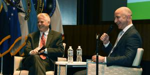 Lewis Shepherd (l), executive consultant on advanced technologies at Deloitte, spoke with Jeff Bezos, founder of Amazon and Blue Origin, about the rapid changes in technology at the AFCEA 2017 Spring Intelligence Symposium.