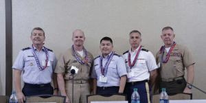 Tools that help the big data problem are one of the technologies most desired in the cyber realm, according to panelists at AFCEA TechNet Asia-Pacific., l-r: Maj Gen. Jeffrey A. Kruse, USAF; Capt. Dale C. Rielage, USN; Lt. Col. Ed Guevara, USAF; Col. Pete Don, USA; and Col. Matt Rau, USMC.
