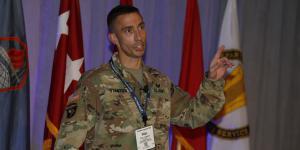 Brig. Gen. Paul Stanton, USA, speaks at TechNet Augusta 2021. Photo by Michael Carpenter