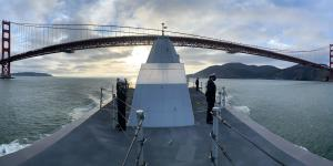 The USS Zumwalt, one of the Navy's most technologically advanced ships, transits the Golden Gate as it enters San Francisco Bay. The U.S. Navy is working with industry to speed new information technology capabilities into the service. Credit: U.S. Navy photo