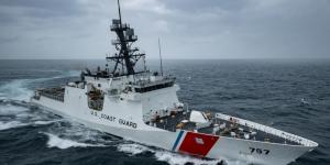 The newly commissioned National Security Cutter Midgett conducts sea trials on February 25. The U.S. Coast Guard needs to be more nimble in the Pacific region. Credit: U.S. Coast Guard Headquarters photo courtesy of Huntington Ingalls Industries