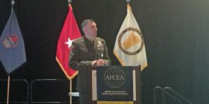 Dennis A Crall, USMC, principal deputy cyber advisor, Office of the Secretary of Defense, speaks at CERTS.