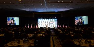 Director of National Intelligence Avril Haines speaks by video to the live audience at the opening luncheon of the 2021 Intelligence and National Security Summit. Photo by Herman Farrer
