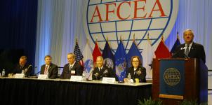Panelists discuss partnerships in cyber warfare at the AFCEA Defensive Cyber Operations Symposium.